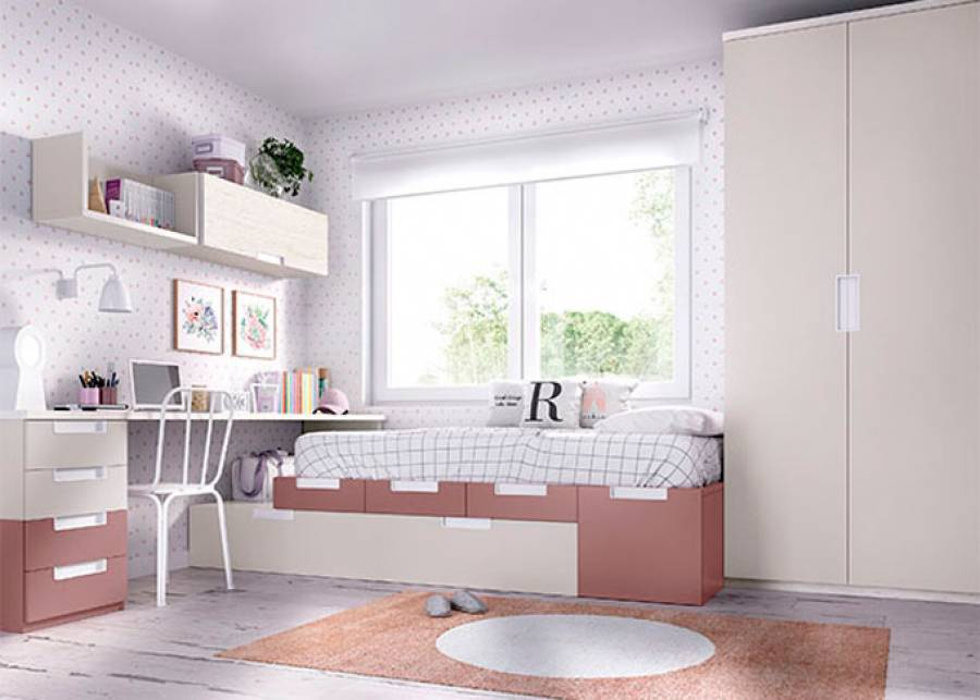Dormitorio juvenil con cama modular Cajones con zócalo a suelo, combinados con apilables. Escritorio de 240 cm, módulos colgantes, y armario