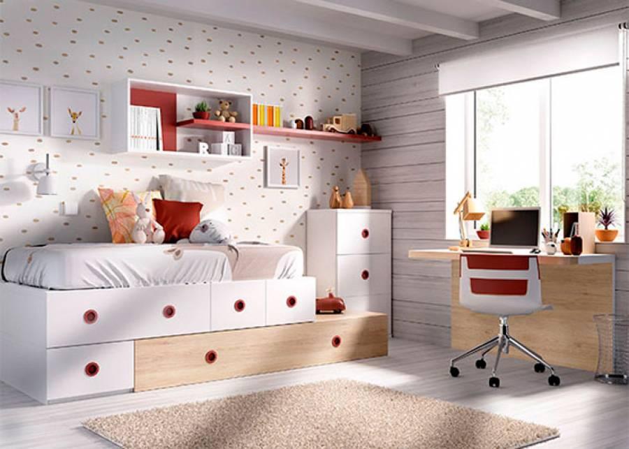 <h2>Dormitorio juvenil con cama modular</h2> <p><strong>Cajones con z&oacute;calo a suelo</strong>, combinados con apilables. <strong>Escritorio suspendido con panel inferior</strong> y <strong>composici&oacute;n mural</strong></p>