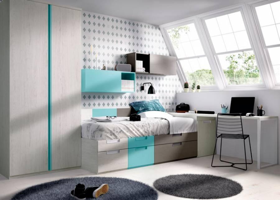 """<h2 style=""""text-align: justify;"""">Dormitorio juvenil modular, m&oacute;dulos colgantes y armario</h2> <p style=""""text-align: justify;"""">Cama de 2 cajones con z&oacute;calo, y dos apilables. Escritorio suspendido de 120 cm con panel superior.</p>"""