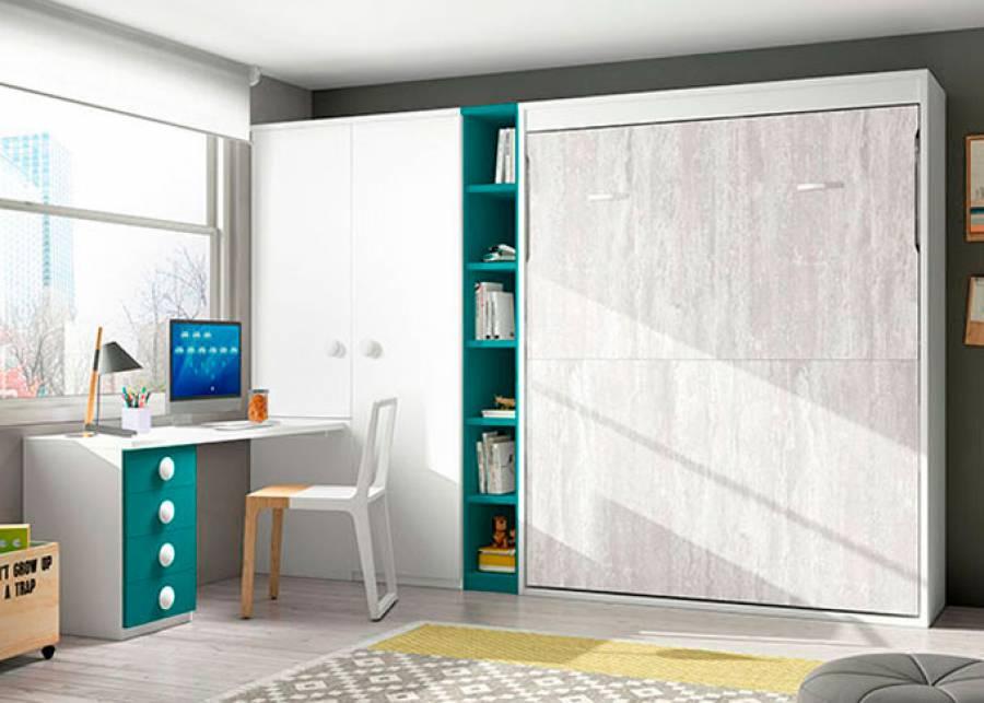 <p>Juvenil con abatible vertical sin altillo para medida de colch&oacute;n de 135 x 190 con estantes interiores. El ambiente cuenta adem&aacute;s con un armario y zona de estudio.</p>