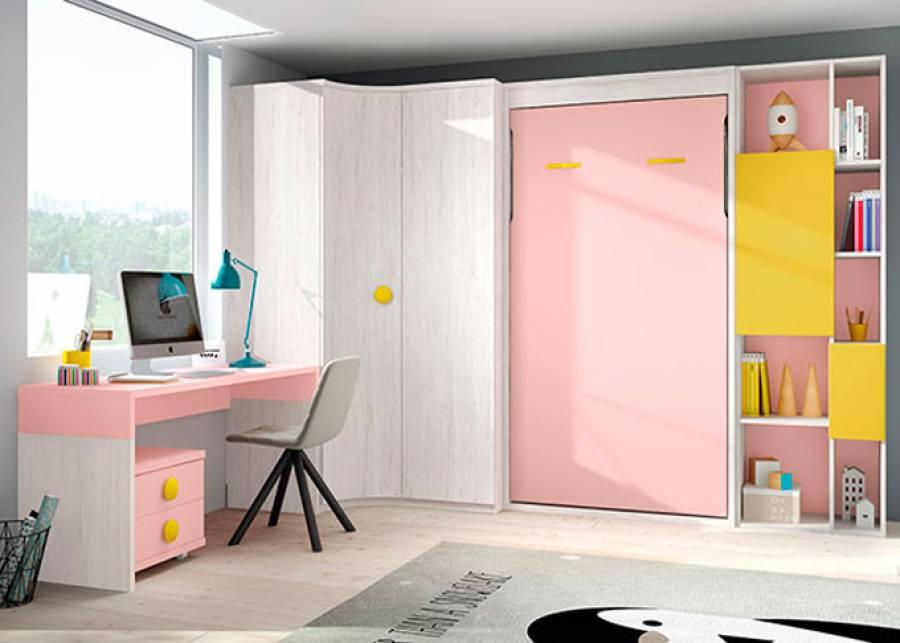 <p>Dormitorio infantil abatible vertical sin altillo para colch&oacute;n de 90 x 190. El ambiente cuenta adem&aacute;s con una zona de estudio, armariada en rinc&oacute;n y librer&iacute;a de huecos asim&eacute;tricos.</p>