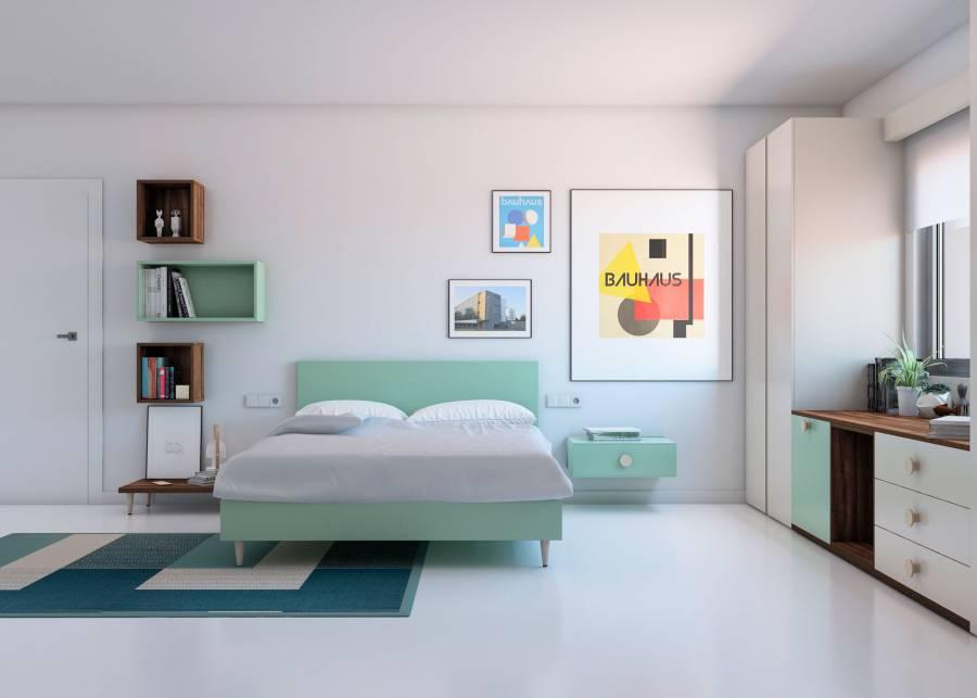 <h2>&iexcl;Un dormitorio ideal para adolescentes!</h2> <p>Te proponemos este <strong>dormitorio juvenil</strong> equipado<strong>&nbsp;</strong>con una magnifica<strong> cama de 150 x 190,</strong> con <strong>cabezal tapizado.</strong> Junto a la cama, una peque&ntilde;a<strong> mesita de noche, </strong>destaca por su simplicidad de l&iacute;neas, y aporta un toque acogedor a la escena.</p> <p>&nbsp;</p> <p>&nbsp;</p>