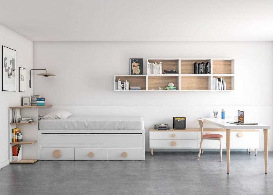 <h2>&iexcl;Una habitaci&oacute;n con espacio para muchas cosas...!&nbsp;</h2> <p>Una <strong>cama compacta de dos camas y base de cajones</strong>, que cerrada deja mucho espacio libre en el centro de la habitaci&oacute;n. Con este dormitorio, tu hijo dispondr&aacute; de una habitaci&oacute;n despejada, con espacio para compartir una segunda cama si se quedan amigos a dormir en casa, un estupendo<strong> escritorio</strong> en forma de pen&iacute;nsula para traer a compa&ntilde;eros a relizar las tareas grupales, y mucho espacio en el centro para hacer deporte o lo que surja.</p>