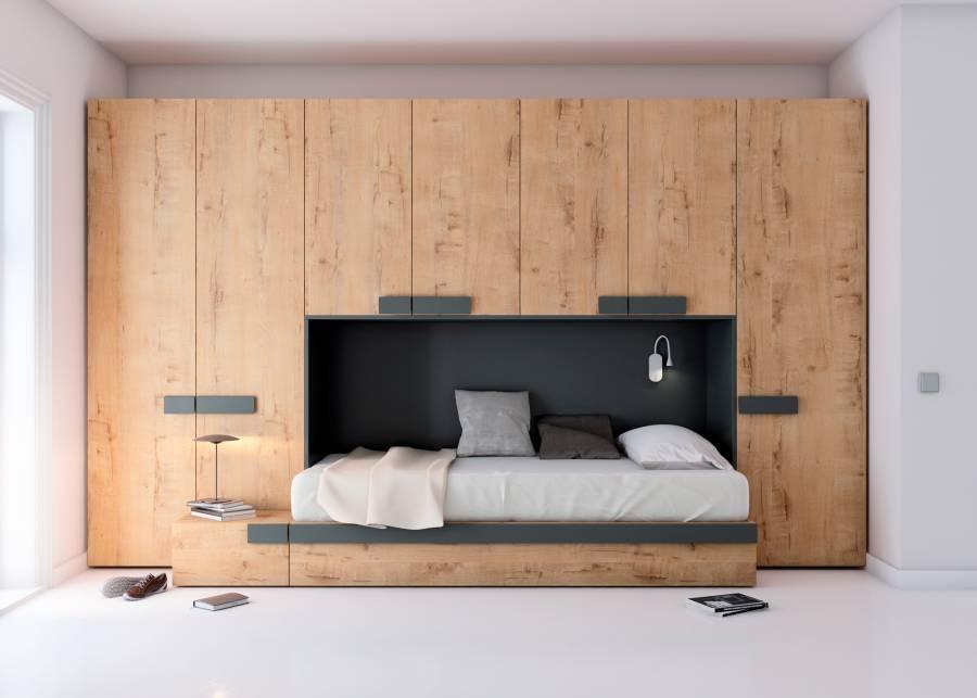<h2>&iexcl;Un dormitorio con mucho espacio de almacenamiento!</h2> <p>Te proponemos este <strong>dormitorio juvenil</strong> equipado<strong>&nbsp;</strong>con una c&oacute;moda <strong>cama nido con somier de arrastre, un m&oacute;dulo de caj&oacute;n de 1 metro de fondo</strong>, y de la misma altura de la cama, sobre el que se ha apilado uno de los<strong> armarios</strong>, generando una c&oacute;moda repisa y rodeada de muchos<strong> armarios.</strong> Una habitaci&oacute;n que ofrece una gran <strong>capacidad organizativa y de almacenaje</strong>.</p>