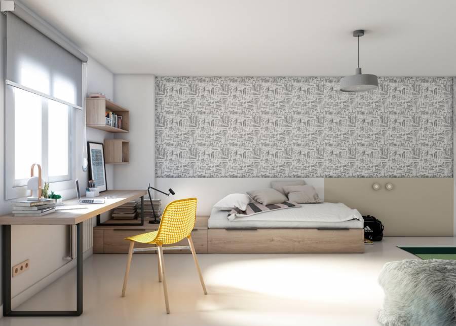 <h2>&iexcl;Un dormitorio modular muy contempor&aacute;neo!</h2> <p>Un <strong>dormitorio para j&oacute;venes din&aacute;micos, </strong>en el que predomina la sensaci&oacute;n de<strong> espacio despejado. </strong>El planteamiento es el de un<strong> dormitorio modular</strong>, y cuenta con una<strong> cama nido con arrastre</strong>, unos cubos con caj&oacute;n, de la misma altura que la cama, y u<strong>n friso perimetral</strong> en dos tonos, que potencia visualmente la sensaci&oacute;n de amplitud, sin olvidar la tan importante <strong>zona de estudio.</strong></p>
