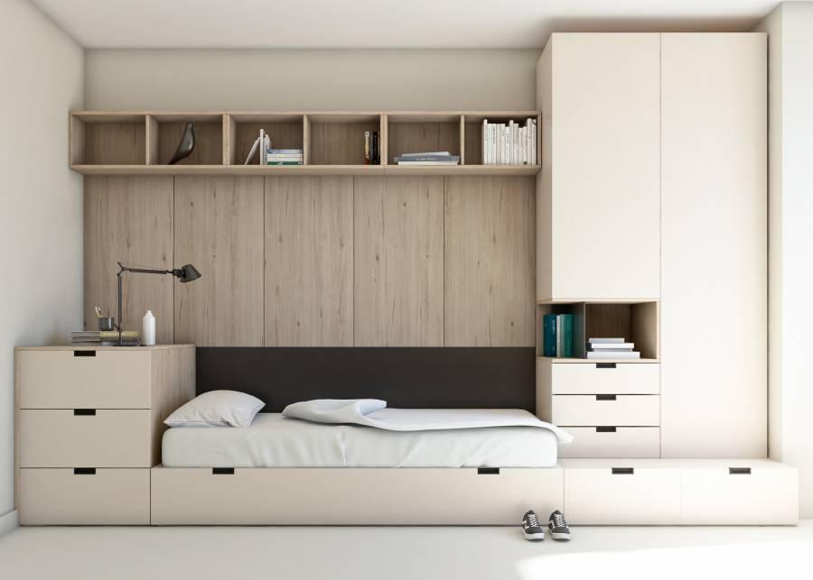¡Una habitación con dos zonas diferenciadas! En esta habitación, la sensación de orden se aprecia en cada rincón. Los cubos p
