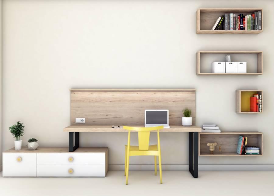 <h2>&iexcl;Una zona de estudio minimalista!</h2> <p>Una zona de trabajo c&oacute;moda y bien abastecida de m&oacute;dulos de almacenamiento y organizaci&oacute;n. El protagonismo recae sobre la mesa con patas met&aacute;licas y los cubos decorativos suspendidos.</p> <p>&iquest;Se puede pedir m&aacute;s en menos espacio?</p> <p>&nbsp;</p> <p>&nbsp;</p>