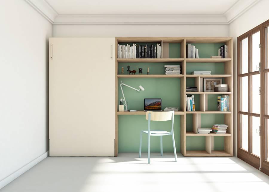 <h2>&iquest;Como es posible dar tanto en tan poco espacio?</h2> <p>Esta es la habitaci&oacute;n de una residencia estudiantil, que nada tiene que ver con las tristes residencias de anta&ntilde;o. Tiene de todo, una c&oacute;moda cama de 2 metros de largo, muchas estanter&iacute;as y una buena zona de estudio centrada en la composici&oacute;n mural. Es tan bonita, moderna y espaciosa, que a m&aacute;s de uno le encantar&iacute;a llevarsela a su propia casa.</p>
