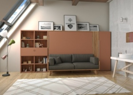 Dormitorio juvenil con mueble de 238,5 de altura, cuya parte alta es una liberia