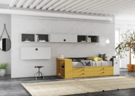 Habitación juvenil con mueble compacto abatible autoportable