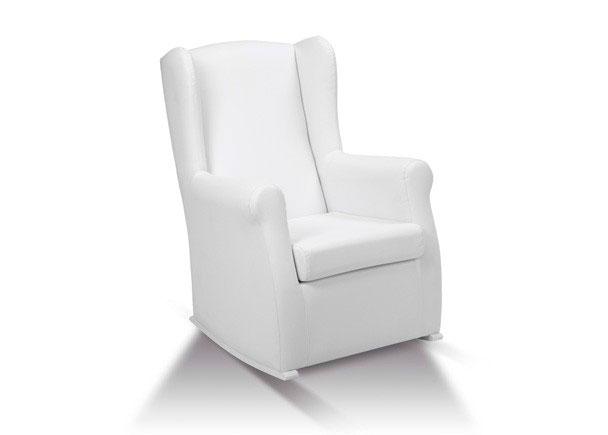 Sillón de lactancia modelo U, fabricado con estructura interna de madera de pino pulimentado, asiento y el respaldo cinchados con cincha elástica