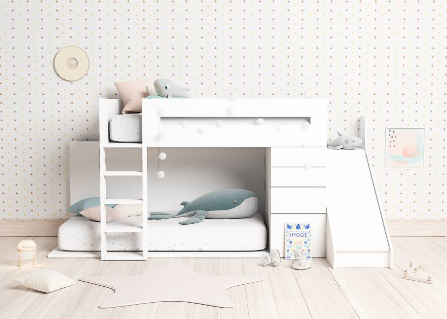 ¡Bajar de la cama nunca ha sido tan fácil y divertido! Con a esta novedosa litera tren blanca infantil con tobogán tus pequeños pasa