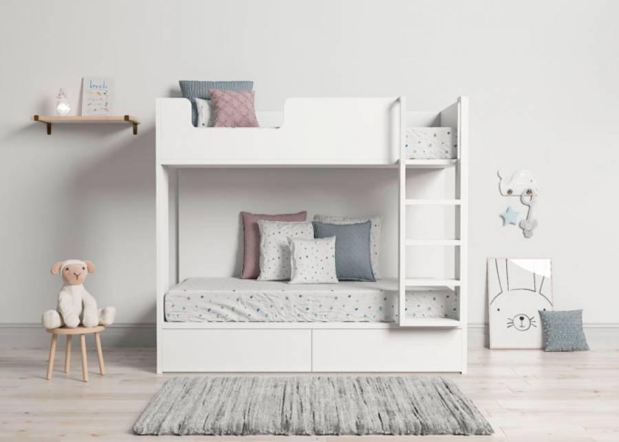 ¡Wow! Perfecta para espacios reducidos, litera infantil con dos cajones nido con ruedas, escalera y quitamiedos fijos para la mayor seguridad de tus pequ