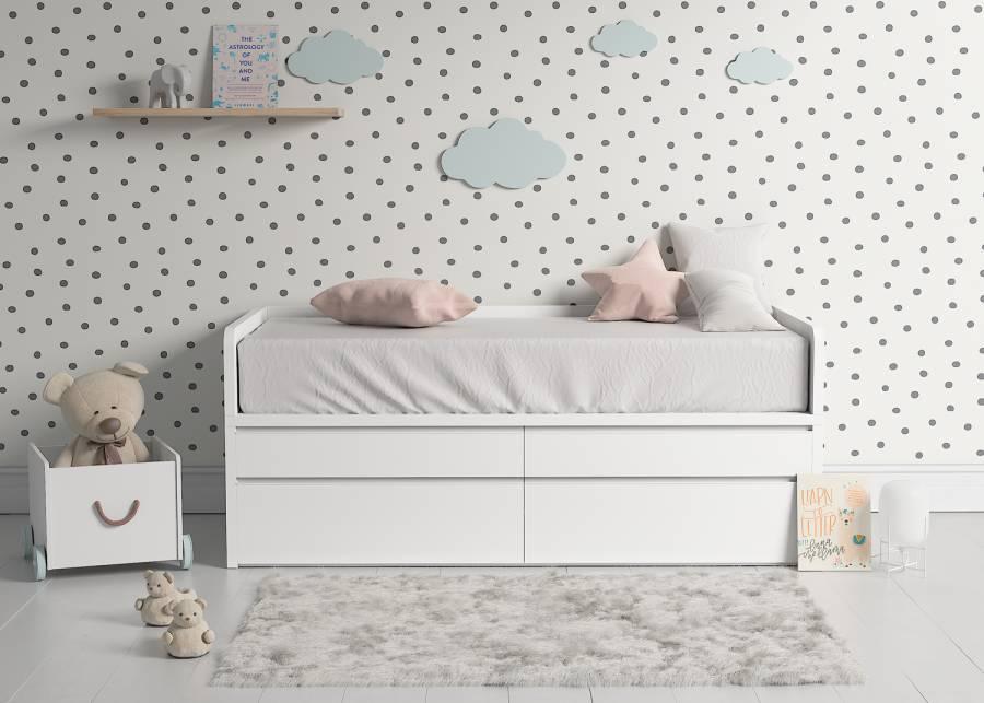 """<h2>&iexcl;Equilibrio!</h2> <p style=""""text-align: justify;"""">Increible pero cierto, el dormitorio de tu peque&ntilde;o puede estar siempre ordenado con esta <strong>cama compacta de 4 cajones</strong>. El <strong>almacenamiento extra</strong> siempre es un plus para mantener un dormitorio infantil organizado, algo que con esta opci&oacute;n es posible.&nbsp;</p>"""