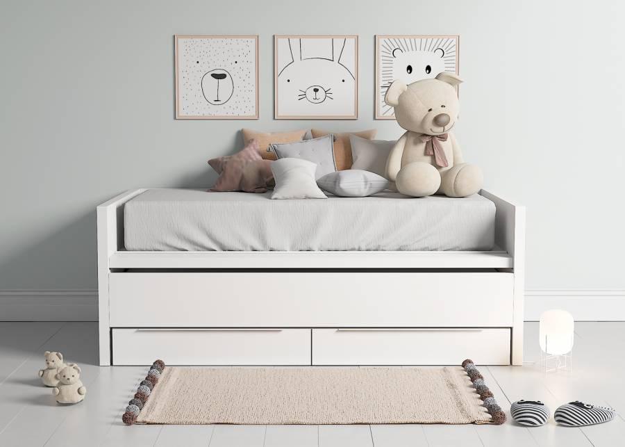 """<h2><strong>&iexcl;Dos camas en una! </strong></h2> <p style=""""text-align: justify;""""><strong>Cama infantil compacta con brazos y respaldo, cama deslizante</strong> y base de 2 cajones grandes. La cama superior es de 190 x 90 y la deslizante de 180 x 90</p>"""