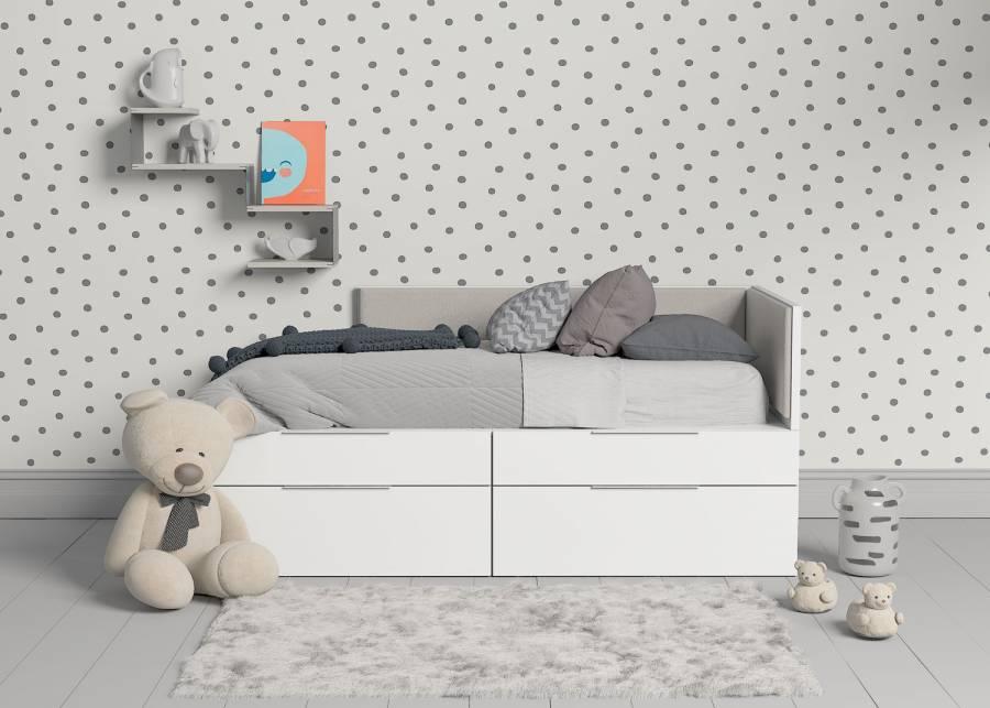 """<h2>&iexcl;La versatilidad de las camas modulares es una ventaja &uacute;nica!</h2> <p style=""""text-align: justify;"""">Tus hijos pueden desear una distribucion cuando son peque&ntilde;os y a medida que crecen, tener otras preferencias. La posibiliad de configurar la estancia colocando los m&oacute;dulos de diferente manera, te har&aacute; sentir que <strong>su dormitorio crece y cambia con ellos</strong>. En este caso, <strong>dos cajones</strong> continuos configuran la base de una <strong>cama de 90 x 190</strong>, adem&aacute;s de contar con unos apilables de menor altura como plus para mayor <strong>espacio de almecenaje.</strong>&nbsp;</p>"""