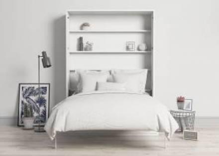 Cama abatible doble vertical con sofá y cajones 150 x 190 cm