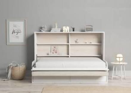 Cama abatible horizontal con sofá y cajones 105 x 190 cm