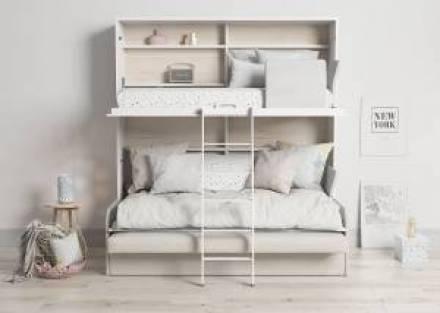 Litera abatible horizontal 90 x 190 cm con sofá y cama nido
