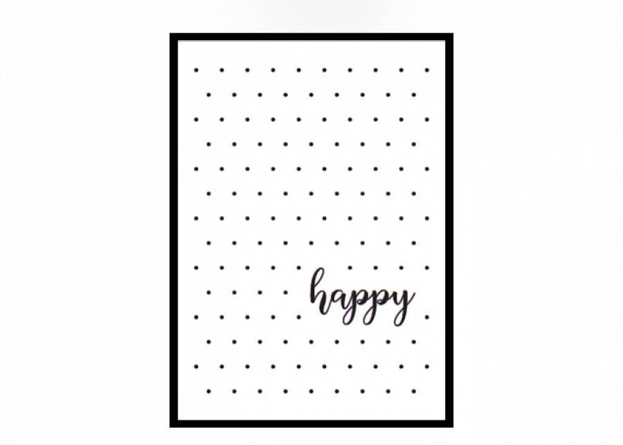 <p><strong>Cuadro decorativo</strong> HAPPY con <strong>marco negro</strong>. Un complemento que quedar&aacute; ideal en el dormitorio de tu peque.&nbsp;</p>