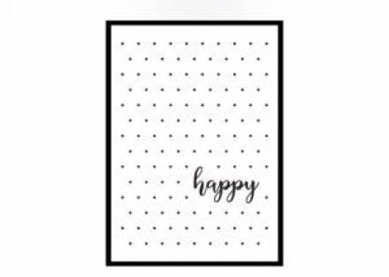 Cuadro decorativo HAPPY con marco negro 44 x 62 cm