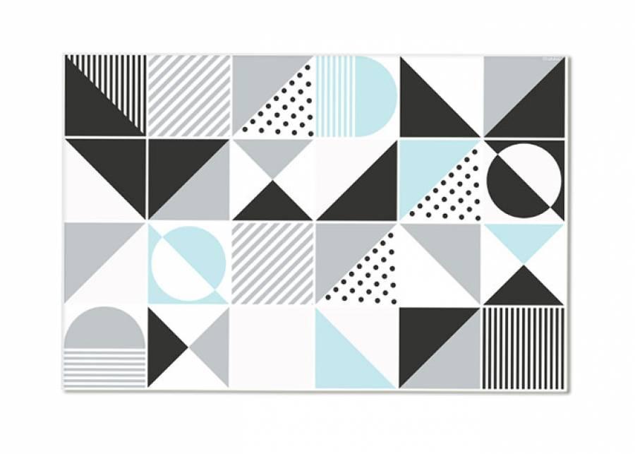 ¡Tu tablero de juegos! Esta alfombra de vinilo con diseño nórdico tipo cuadrícula, con textura lisa y acabado en colores blanco y ne