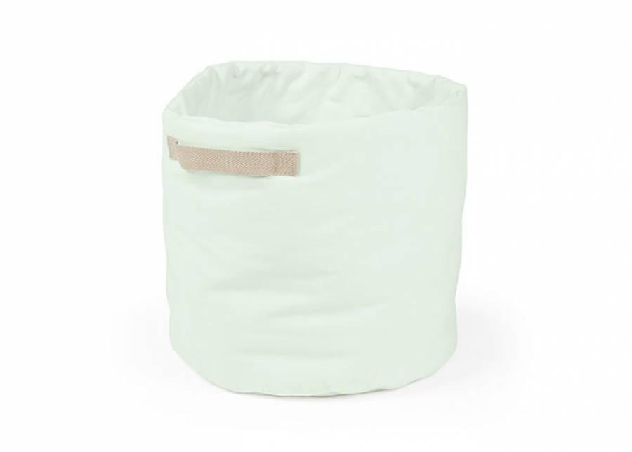 Cesta de almacenamiento plegable de forma cilíndrica, con asas decorativas, fabricada en tejido Panamá 100% de 35 cm de diámetro x 50 cm h