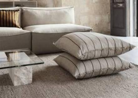 Cojín algodón y lino a rayas 80 x 80