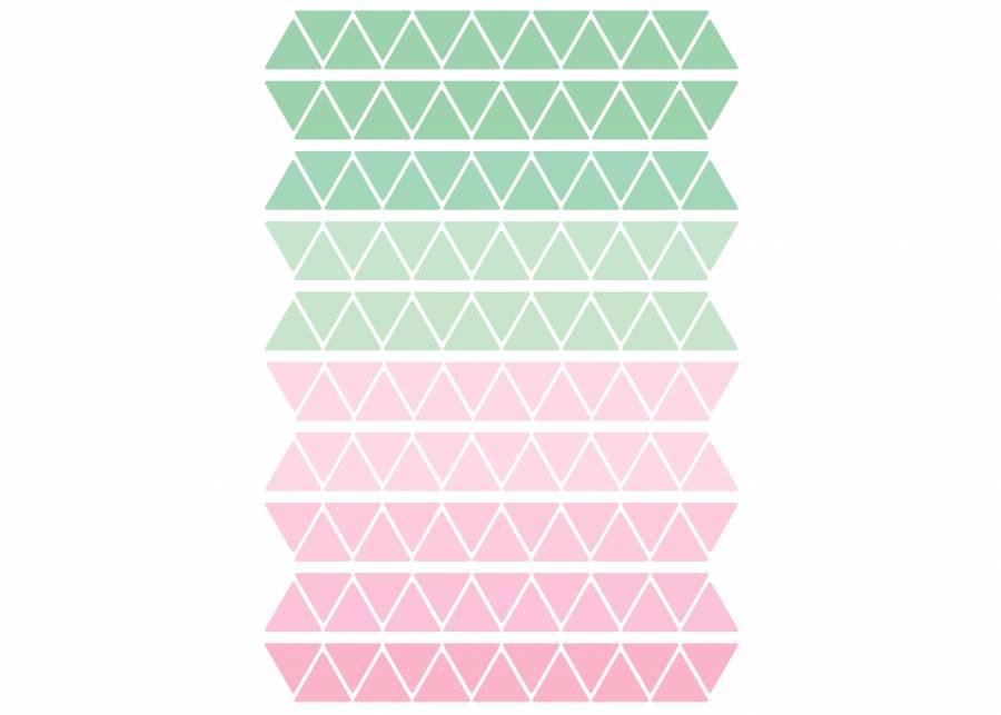 """<h2 style=""""text-align: justify;"""">Menta y rosa</h2> <p style=""""text-align: justify;"""">Con estos peque&ntilde;os <strong>tri&aacute;ngulos</strong> en diferentes colores de la gama <strong>verde y rosa</strong>, podr&aacute;s darle un toque <strong>original</strong> a cualquier habitaci&oacute;n. Los <strong>vinilos</strong> tienen una textura muy agradable tipo <strong>lienzo</strong> pintado y se puede <strong>pegar</strong> en <strong>cualquier</strong> tipo de <strong>superficie</strong>: paredes, madera, pl&aacute;stico, textil, cristal, espejos,&hellip;</p>"""