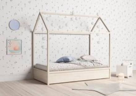 Casita cama nido de madera de haya natural