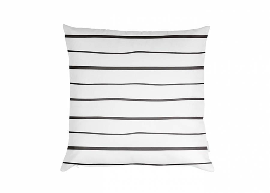 """<p style=""""text-align: justify;""""><strong>Coj&iacute;n estampado lineal fondo blanco, de 45 x 45 con relleno.</strong> El complemento que necesitas si estas buscando decoraci&oacute;n textil con un toque diferente para tu cama.&nbsp;</p>"""