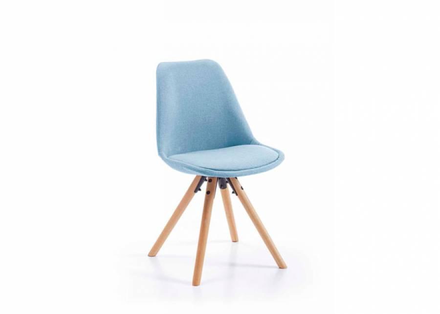 Bonita silla de estilo escandinavo con patas de madera de haya maciza. Estructura y asiento con dos acabados de tapizado. Aportale estilo y color a toda la esta
