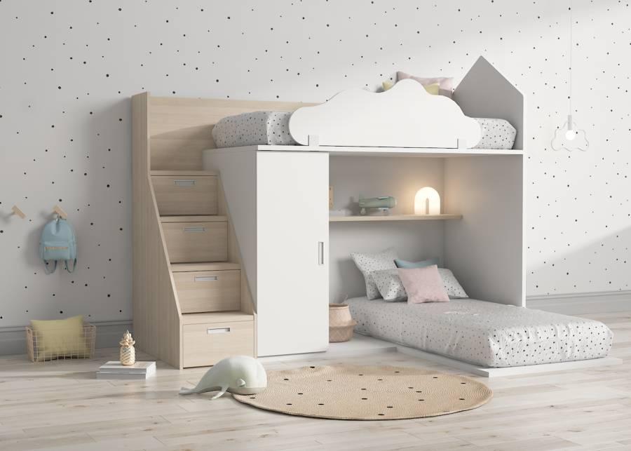 ¿Crees que tu hijo es soñador? Esta litera infantil en forma de casita será un lugar donde puede jugar sin límite durante el d&iacu