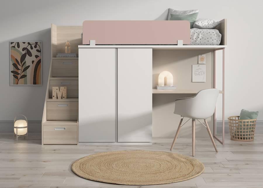 <h3>&iexcl;Una cama digna de una princesa!</h3> <p>Esta cama alta se dise&ntilde;&oacute; teniendo en cuenta <strong>la funcionalidad y el minimalismo.&nbsp;</strong>Convierte un dormitorio en un reino para tu princesa con este <strong>dise&ntilde;o completo</strong> que consiste en <strong>cama, escritorio, armarios y escalera con cajones.</strong></p> <p>&nbsp;</p>